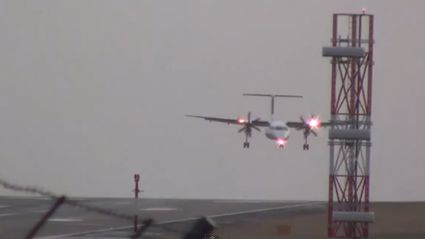 Windy Conditions Force Planes To Land Sideways At Leeds Airport