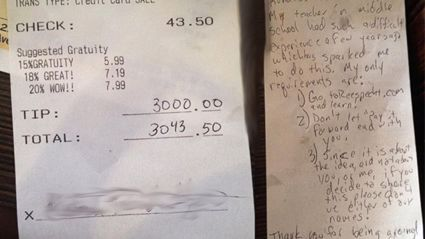 Man Leaves $3000 Tip to Struggling Waitress – And the Reason He Does It Is Equally Touching