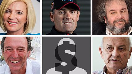 Clockwise from top: Annette Presley, Sir Russell Coutts, Sir Peter Jackson, Sir Owen Glenn and Graeme Hart (NZ Herald)