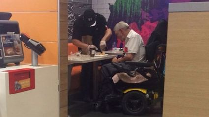 This Photo Of A McDonald's Worker Helping An Elderly Man Eat Will Tug At Your Heart