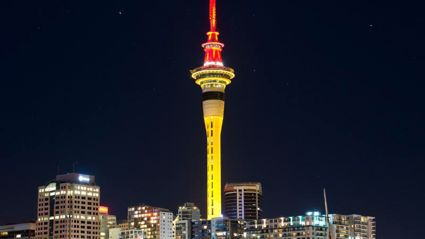 The Sky Tower Lit Up for Chinese New Year .