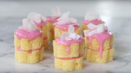 No Bake Pink Coconut Mini Cake Recipe