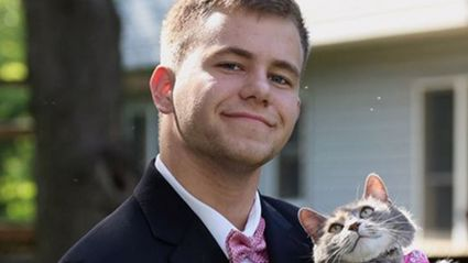 Teen couldn't find ball date so takes his cat instead