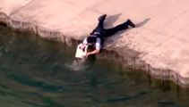 Watch the heartwarming this police officer saves a drowning dog from lake