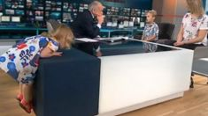 Watch the hilarious moment a toddler climbs on presenter's desk during live interview