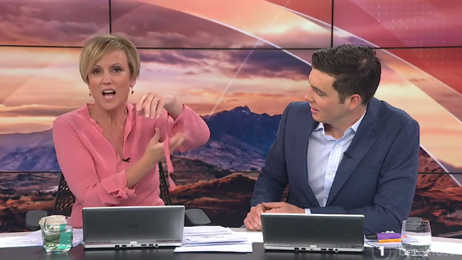 Hillary Barry & Jack Tame's kinky moment on 'Breakfast'