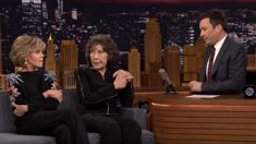 Watch Jane Fonda joke about her lip plaster with Jimmy Fallon