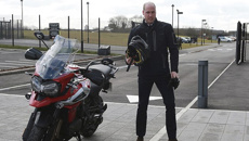 Prince William defies Kate's wishes and rides a brand new Triumph motorbike at the testing facility