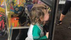 Cute toddler gets stuck