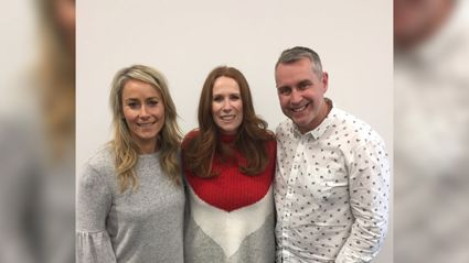 Jason and Bernadine share some laughs with Catherine Tate.