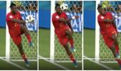 Belgium striker embarrassingly smacks himself in face