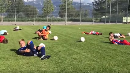 Watch this hilarious video of young football players practicing 'The Neymar'