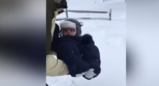 Baby's snow angel goes wrong
