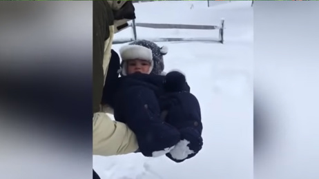 Watch the hilarious moment a dad's attempt at snow angel with his baby fails miserably