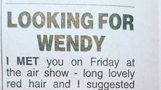 The quirky newspaper ad placed by a Kiwi bloke looking to find his Wings Over Wairarapa companion