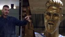 James pranks David with statue