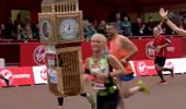 """Watch the HILARIOUS moment Big Ben runner has a bad """"time"""" at the end of the London Marathon"""