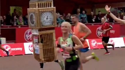 "Watch the HILARIOUS moment Big Ben runner has a bad ""time"" at the end of the London Marathon"