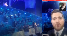 Michael Bublé serenades fan who was unable to attend concert via video call live on stage