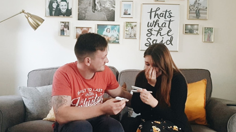 Watch the emotional moment a couple finds out they're pregnant after trying for five years