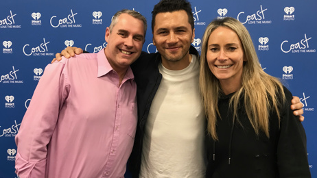 Jason Reeves and Bernadine Oliver-Kerby give Opshop's Jason Kerrison a pep talk ahead of his show with John Farnham