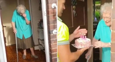 Rubbish truck workers surprise their favourite customer with a cake for her 100th birthday