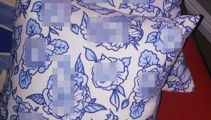 Woman was left blushing by her x-rated 'floral' patterned pillows