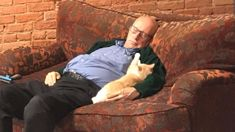 American man volunteers his time to brush and nap with special-needs cats for hours every day