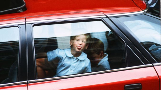 Prince Harry leaving hospital after visiting the Duchess of York and her daughter Princess Beatrice at Portland Hospital in 1988 / Getty Images