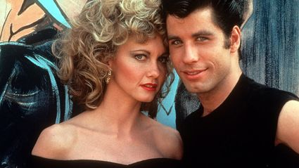 Newton-John and Travolta on the set of 'Grease', 1978. Image / Getty