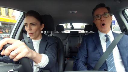 Jacinda Ardern and Stephen Colbert put their own hilarious spin on Carpool Karaoke singing Queen