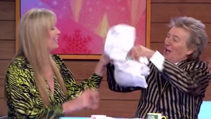 Watch the hilarious moment Penny Lancaster confuses Rod Stewart's age with her dad's on live TV