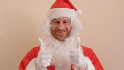 Prince Harry dresses up as Santa to share sweet message to children who have lost a parent
