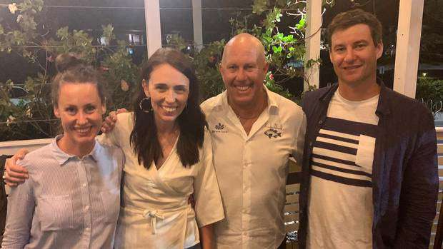 Jacinda Ardern and Clarke Gayford looked relaxed during their visit to Fins Restaurant. Photo / Facebook