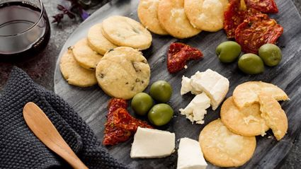 These cheese and olive crackers should be a staple this Summer!