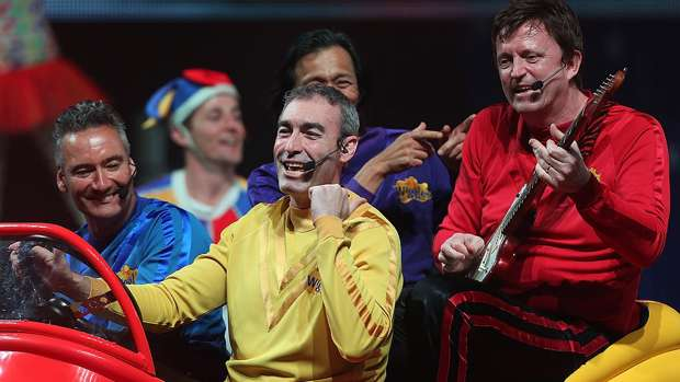 Yellow Wiggle, Greg Page (centre) in 2012. Getty Images