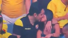 Man gets awkwardly caught on 'kiss cam' cheating on his partner