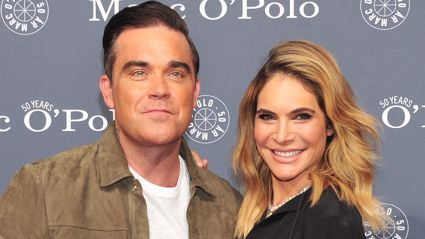 Ayda Field has shared a heartwarming video of Robbie Williams cradling their newborn son