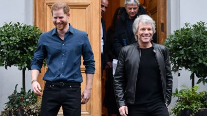 Prince Harry and Jon Bon Jovi recreate The Beatles' famous Abbey Road crossing photo