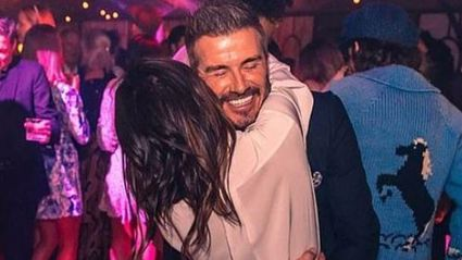 David and wife Victoria Beckham dance closely at their son's lavish 21st birthday bash. Photo / Instagram