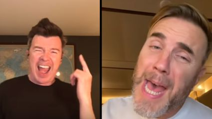 Rick Astley and Gary Barlow perform live virtual duet of 'Together Forever'