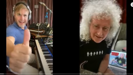 Brian May and Gary Barlow performing together, while not together!