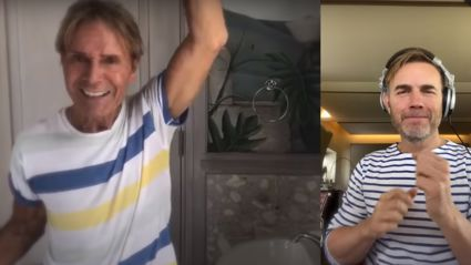 Cliff Richard performs virtual duet of 'We Don't Talk Anymore' with Gary Barlow from his bathroom