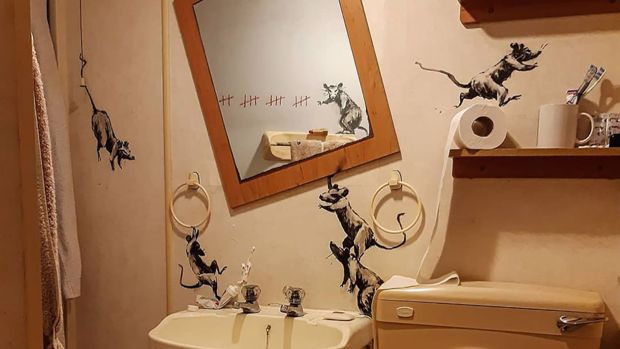 This is the only time you would want rats in the house! - Credit Banksy