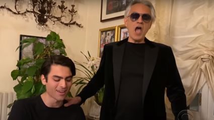 Andrea Bocelli's son joins him on The Late Late Show for beautiful at-home duet of 'Fall On Me'