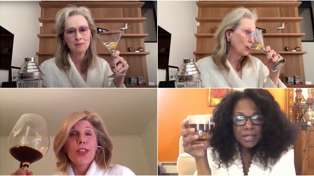 Meryl Streep goes viral as she and her squad sip on cocktails in their bathrobes over video call