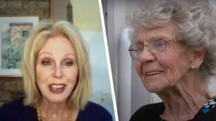 The emotional moment Joanna Lumley surprises WWII veteran Edna with her medal after 75 years