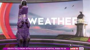 Matty Mclean leaves Breakfast co-hosts in stitches as he presents the weather in a dinosaur suit