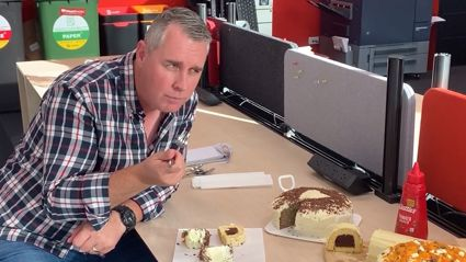 Sam Wallace and Toni Street have a bake-off for Jason Reeves' birthday