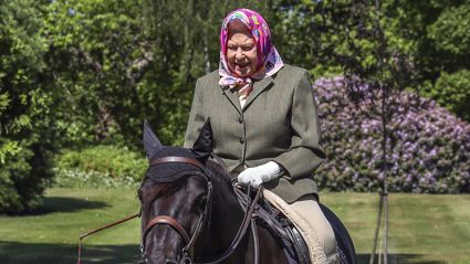 The Queen has been spotted in public for the first time since lockdown riding her pony